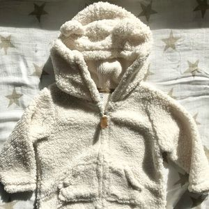 NWOT Carters shearling teddy zip jacket Sz 9 mos